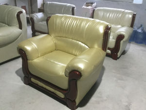 iPhone Champagne Color Leather Sofa, 1+2+3 Combination Modern Sofa (A06) pictures & photos