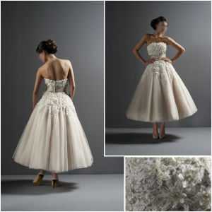 Classic Champagne Tea / Ankle Length Wedding Dress Strapless Lace Tulle a-Line Short Bridal Ball Gowns (TL030)