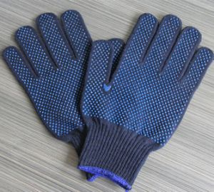 Industrial Labor Cotton Knitted Gloves PVC Double Side Dotted Safety Gloves pictures & photos