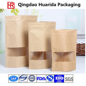 Kraft Paper Bag with Window and Zip Lock pictures & photos