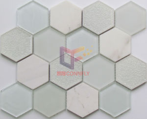 Light Emperador Marble Mix Cracked Ceramic Crystal Mosaic Tile for Decoration (CS252) pictures & photos