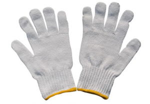 Color Boder Safety Working Knit Cotton Gloves 40g pictures & photos