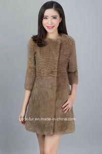 Women′s Three Quarter Sleeve Rabbit Fur Coat Simple Fashion Style