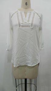 Fashion Long Sleeve V-Neck Women′s Casual Chiffon Blouse, Women Clothes (X85081)