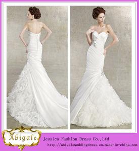 New Hot White Mermaid Ruffles Beaded Sweetheart Organza Sleeveless Wedding Dresses China Yj0027