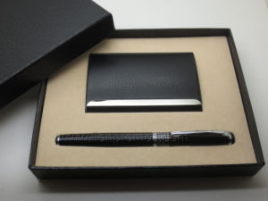 Logo Embossed PU Leather Name Card Pen Gift Set pictures & photos
