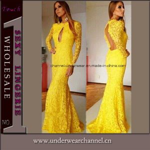 Yellow Floral Lace Sweeping Mermaid Evening Wedding Dress (T6831) pictures & photos