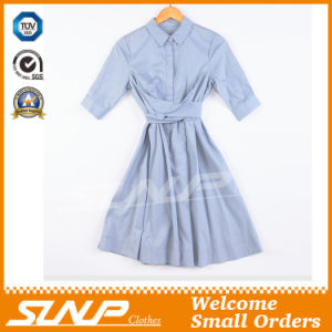 Cotton/Nylon Pure Color Ladies Shirt Dress