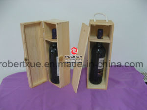 Square Shape Single Bottle Packaging Unfinished Pine Wooden Wine Boxes pictures & photos