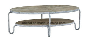 Living Room Center Furniture Tea Table, Metal Coffee Table with Wood Top pictures & photos