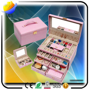Luxury Leather Classic Jewelry Box with Mirror pictures & photos