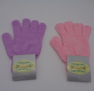 Pink Shower Nylon Wash SPA Bath Glove Exfoliating Body Scrubber (JMC-429B) pictures & photos