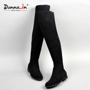 2017 Casual Lady Elastic Microfiber Shoes Over-Knee Flats Women Boots pictures & photos