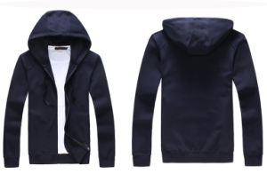 Wholesale Custom Plain Men Zip up Navy Blue Fleece Hoodies pictures & photos