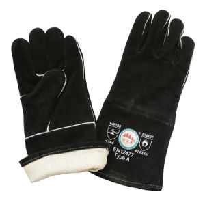Black Heat Resistant BBQ Gloves Hand Safety Welding Gloves with Ce pictures & photos