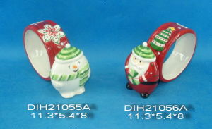 Hand-Painted Ceramic Snowman/Santa Napkin Ring pictures & photos
