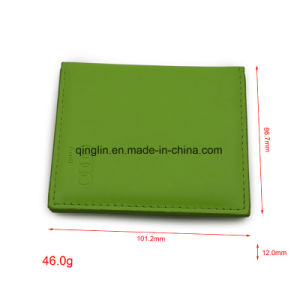 Custom Promotion Gift Green Leather Metal Makeup Mirror pictures & photos