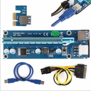 6-Pin Powered PCI-E PCI Express Riser 1X to 16X PCI-E USB 3.0 Adapter Card with USB Extension Cable pictures & photos