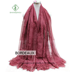 2017 Lady Fashion Silk Scarf with Rose Embroidery Dyed Shaw pictures & photos