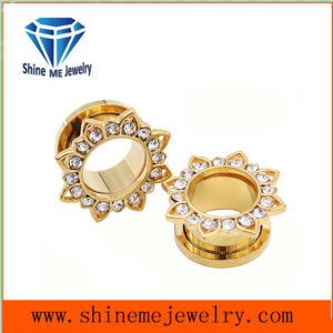 Flower Shape Gold Zircon Piercing Tunnel Ear Plug pictures & photos