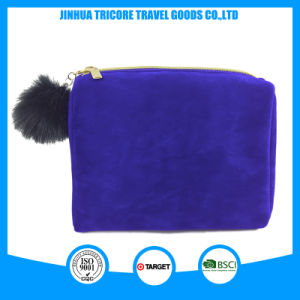2017 New Item Navy Color Velvet Cosmetic Bag with Fuzzy Ball Puller pictures & photos