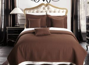 Home/Hotel Checkered Quilt California-King Size Coverlet 3PC Set (DPF1074) pictures & photos