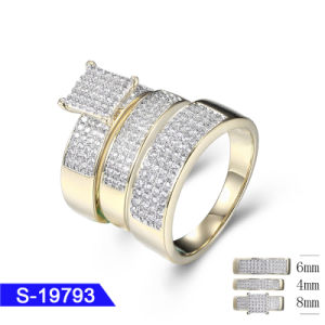 Fashion Jewelry 925 Sterling Silver 14K Gold Plated Cubic Zirconia Tro Wedding Ring Set for Sale pictures & photos