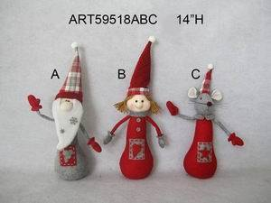 Santa, Doll and Mouse Christmas Decoration, 3 Asst- pictures & photos