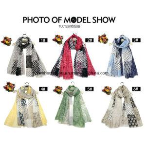 Fashion Lady Scarf Ithe Hollow Cashew Printied Satin Shawl pictures & photos
