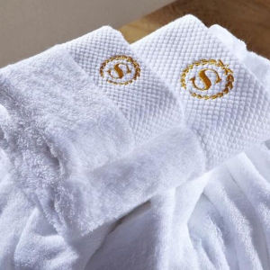 Hotel Satin Border 100% Cotton Terry Cloth Towel Supplier (DPF201642) pictures & photos