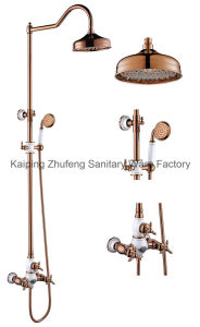 New Design Chinese Blue-and-White Ceramic Double Handle Zf-603 Brass Rain Shower Set pictures & photos