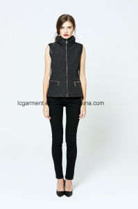Hot Products Latest Design Fashion Zipper Leather Vest Ladies Waistcoat pictures & photos