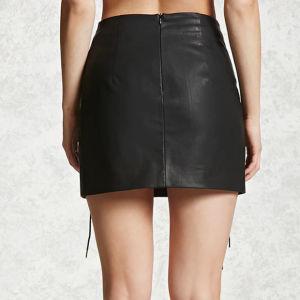 Fashion Women Sexy Imitation Leather Bandage Skirt Short Dress pictures & photos