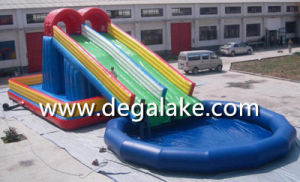 Large Inflatable Dual Lane Slide with Water Pool Customized