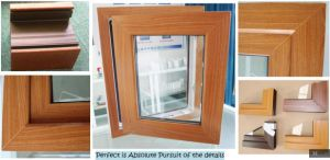 Woodgrain UPVC/PVC Arch Window Grill Design Hinge Windows pictures & photos