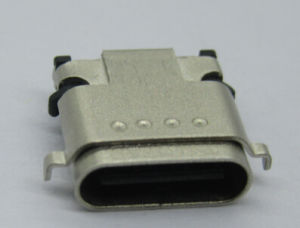 USB3.1 C Type Female Connector, Double Row SMT Version, Middle Mount Type, Stainless Shell pictures & photos