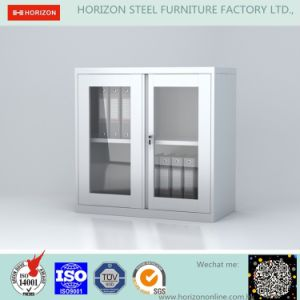 Steel Low Storage Cabinet Office Furniture with Metal Handle and Swinging Steel Framed Glass Doors/File Cabinet pictures & photos