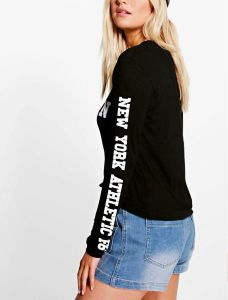 Women Latest Slogan Front Long Sleeve Tops pictures & photos