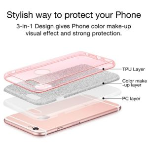 Luxury Bling Hybrid Armor Slim Drop Protection Back Cover Shinning Clear TPU Bumper Bling Crystal Glitter Case for iPhone 7 pictures & photos