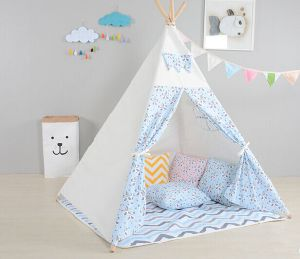 Light Blue Wooden Pole Teepee Children Indoor Playing Tent (MW6030) pictures & photos