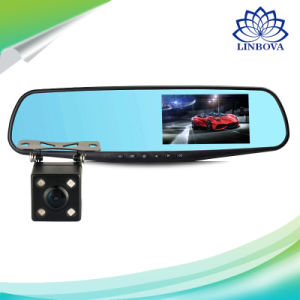 Fhb 1008p 4.3′′ 4.0′′ LCD Screen Vehicle Blackbox Car Dash Cam Rear View Mirror Monitor Rearview DVR Video Recorder Dual Backup Camera Lens pictures & photos