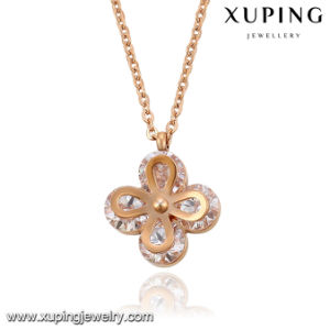 Necklace-00064 Fashion Elegant Rose Gold-Plated CZ Diamond Stainless Steel Jewelry Pendant Necklace pictures & photos