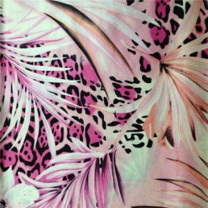 Flower and Leaf Printed Silk Satin