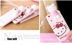 Hello Kitty Silicone Cases for Iphones Case Stereoscopic Cat Doll Cover pictures & photos