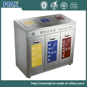 Customized Public Stainless Steel 3 Container Storage Waste Recycle Trash Bin pictures & photos