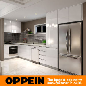 Oppein Modern Wood Grain Melamine Lacquer Wood Kitchen Cabinet (OP16-M02) pictures & photos