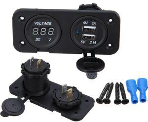 Dual USB Charger Socket/Adapter/Charger/Digital Voltmeter 12V-24V pictures & photos