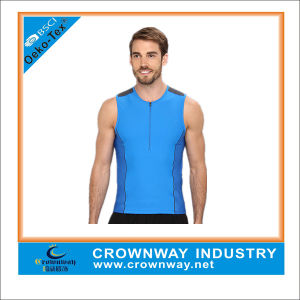 Mens Active Mesh Reflective Running Tank with Zipper Front pictures & photos