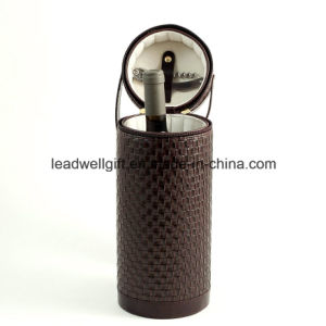 Bottle Shaped PU Leather Wine Carrier with Corkscrew Tool pictures & photos