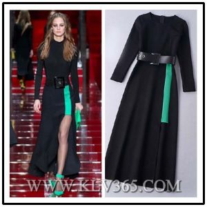 European Style Women Colorblock Long Prom Evening Dress pictures & photos